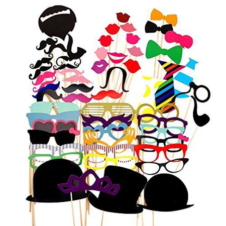 56pcs DIY Photo Booth Props Moustaches On A Stick For Wedding Party
