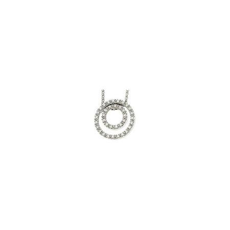 "14k White Gold 1/4 Ct Diamond Concentric Circles Pendant 18"" Necklace"