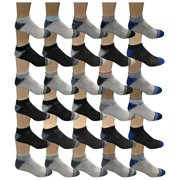 30 Pairs of WSD Mens Ankle Socks, No Show Athletic Sports Socks (30 Pairs Colorful Sports)