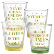 Grasslands Road Citrus Glass Lowball Tumbler, 10-Ounce, Assortment, Set of 8