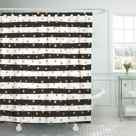 PKNMT Random Gold Dots on White and Black Stripes Shower Curtain 60x72 inches