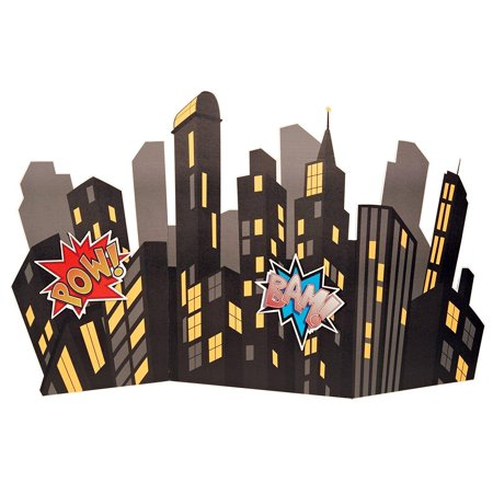 Superhero Comics Party Supplies   Standup City Scape  Includes  1  Cardboard Standup  Measures 6 Feet Wide And Over 3 Ft Tall  Perfect For Taking Pictures  By Birthdayexpress