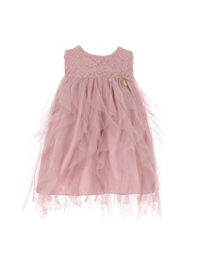 ade1655e08e Product Image Baby Girls Rose Lace Top Tulle Waterfall Ruffle Flower Girl  Dress