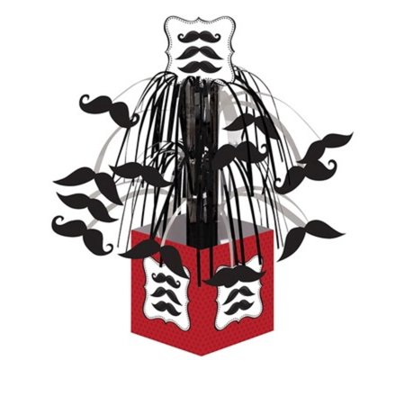 Pack of 6 Mustache Madness Classic Red and Black Mini Cascade Party Centerpieces 10