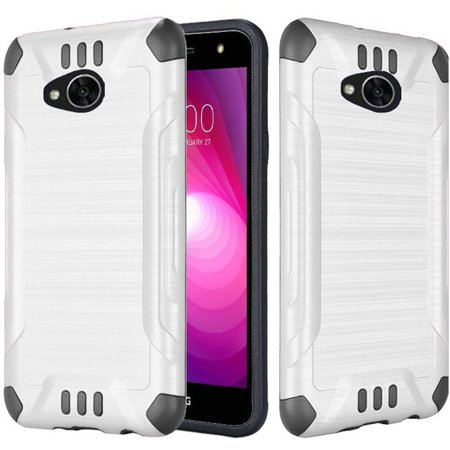 Insten Slim Armor Dual Layer Hybrid Brushed Hard Plastic/TPU Rubber Case Cover for LG Fiesta LTE/K10 Power/X Charge/X Power 2, White/Black
