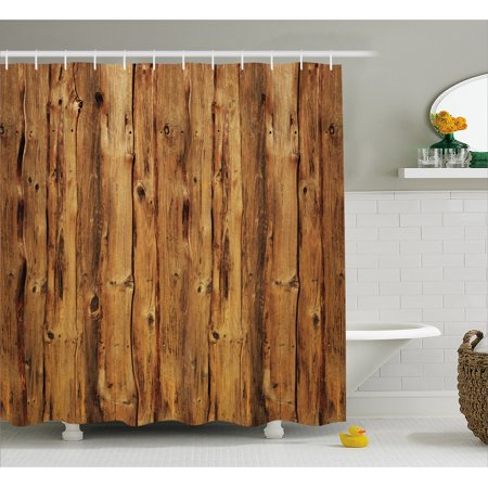 Rustic Home Decor Shower Curtain, Wooden Texture Nature Forest Trees Pattern with Rough Decor Timber Art Print, Fabric Bathroom Set with Hooks, 69W X 70L Inches, Brown, by Ambesonne ()