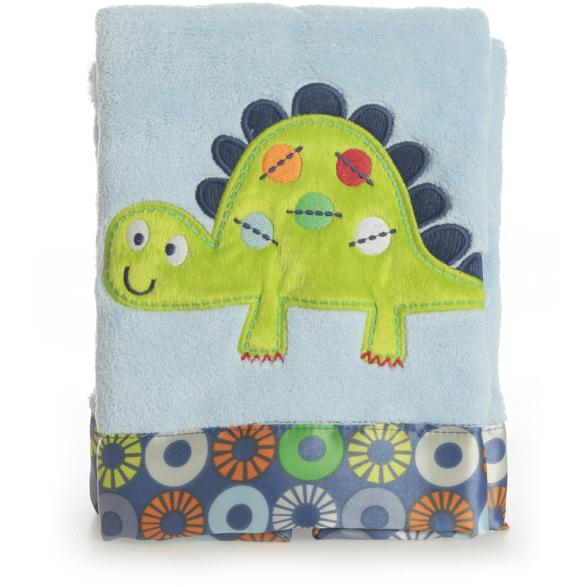 Bananafish Little Dino Plush Applique Blanket