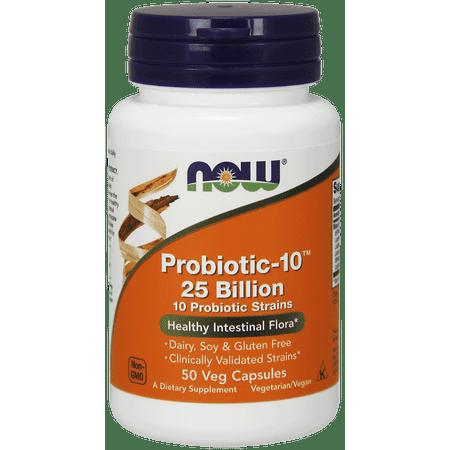 NOW Probiotic-10 Vegetable Capsules, 50 Ct
