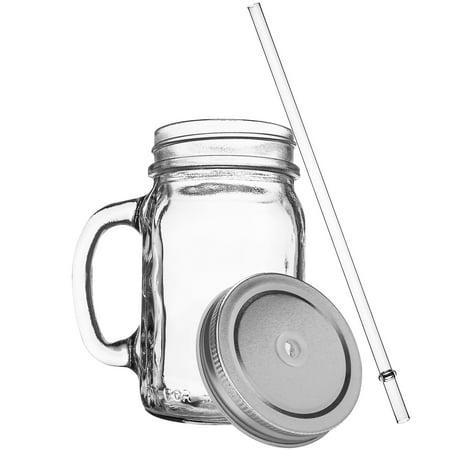 Redneck Sipper Drinking Jar w/ Handle 16oz Glass Mason Jar Acrylic Straw 2 - Plastic Mason Jar With Straw