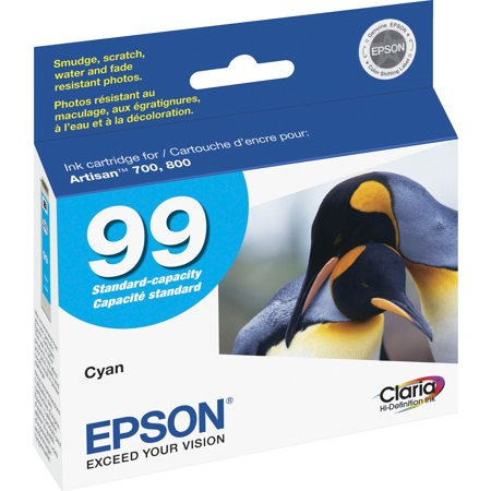 Epson, EPST099220S, Claria No. 99 Standard Capacity Cyan Ink Cartridge, 1 Each