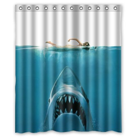 Ganma Hidden Risk Jaw White Shark Shower Curtain Polyester Fabric Bathroom Shower Curtain 60x72 - Shark Themed Bathroom