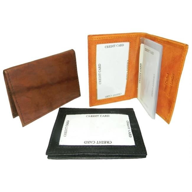 Leather In Chicago CC-100BRN Leather Card Case With Inside And Outside Window For Id, Brown