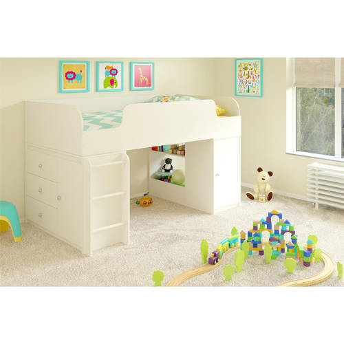 Cosco Elements Loft Bed Twin with 3-Drawer Organizer & Toy Box Bookcase, White Stipple
