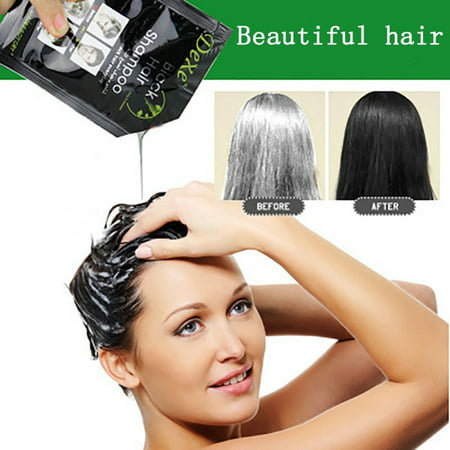 10PCS Black Hair Shampoo White Hair into Black Instant Hair Dye Natural  Black