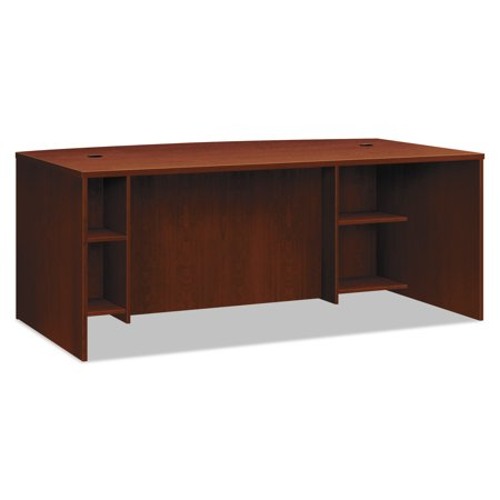 Basyx Credenza Shells - basyx BL Laminate Series Breakfront Desk Shell Bow Front, 72w x 42d x 29h, Med. Cherry