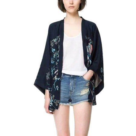 Sweetsmile Harajuku Summer Women Japanese Kimono Phoenix Printed Bat Sleeve Loose Cardigan Sun Protection Open Stitch Coats