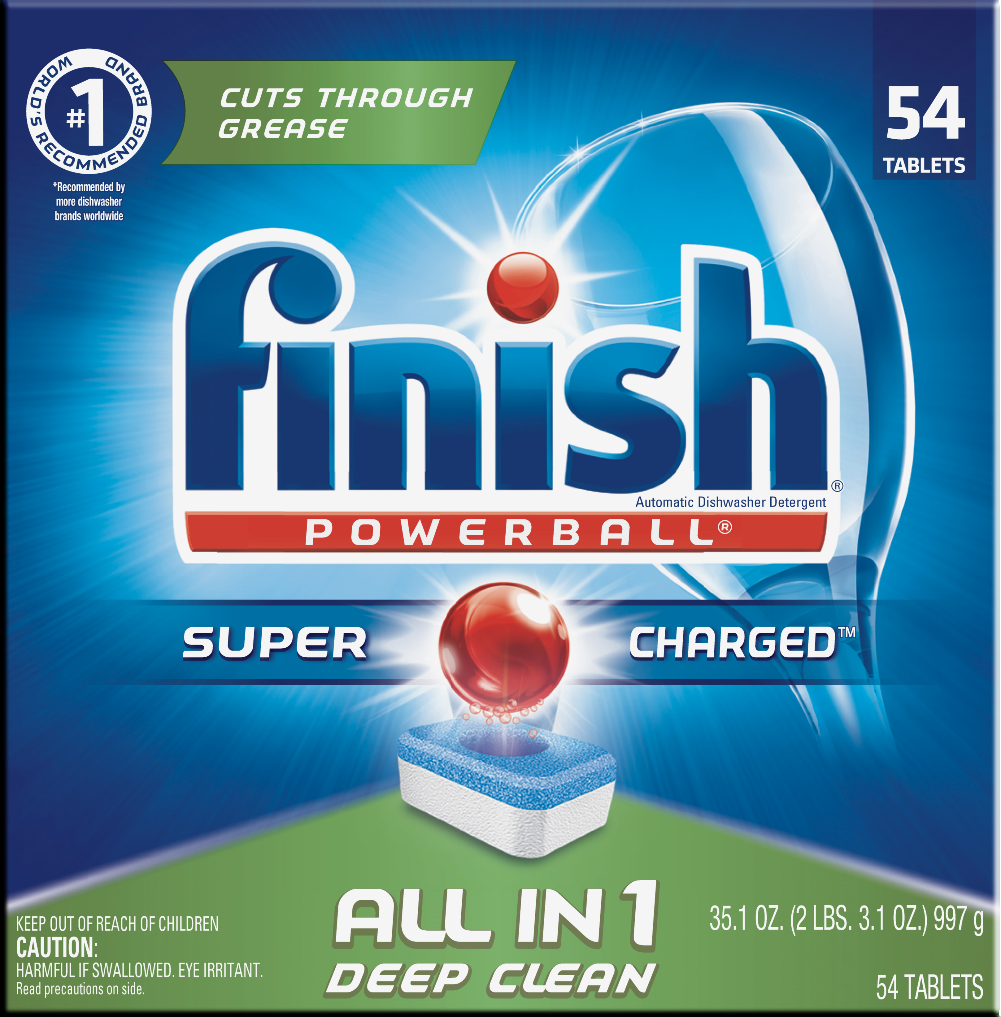 Finish All in 1 Powerball Fresh, 54ct, Dishwasher Detergent Tablets