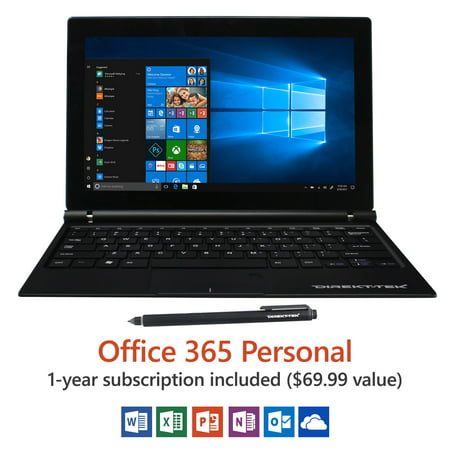 "Direkt-Tek 11.6"" FHD Tablet with Keyboard, Windows 10, Office 365 Personal 1-Year Subscription Included ($69.99 Value), Windows Hello (Fingerprint Reader), Windows Ink (Smart Stylus included)"