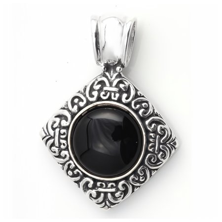 Glitzs Jewels 925 Sterling Silver Pendant with Stone in Gift Box (Black)