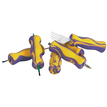 "Image of Abilitations AbiliGrip Adapted Foam Grips, 4.0"" x 1.0"", Yellow and Purple, Set of 12"