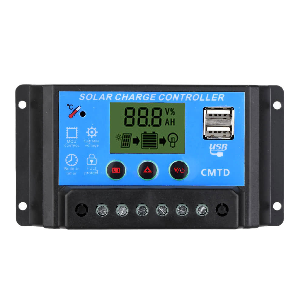 Anself Solar Charge Controller with LCD Display Auto Regulator Timer Solar Panel Battery Lamp LED by