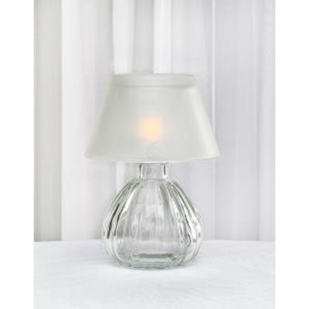 """6"""" Frosted White Glass Tea Light Candle Holder Votive Table Lamp with Shade"""