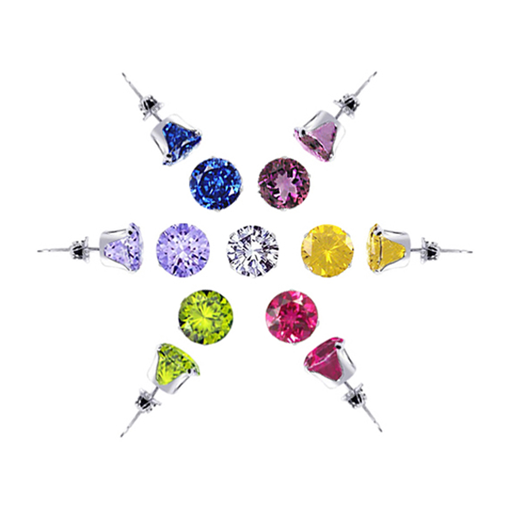 Gem Avenue 925 Sterling Silver Set of 7 Colors 4mm Round Stud Earrings