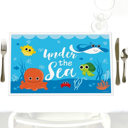 Under the Sea Critters - Party Table Decorations - Baby Shower or Birthday Party Placemats - Set of 12 (Under The Sea Baby Shower Decorations)