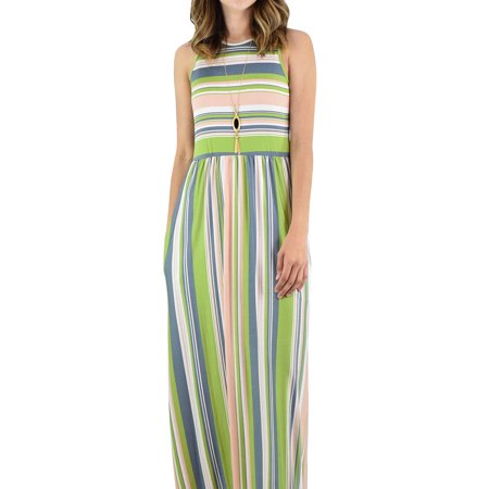 Stripe Print Women Sleeveless Long Party Maxi - Navy Striped Seersucker