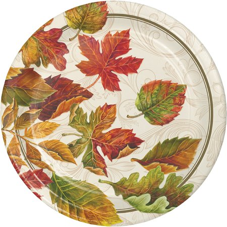 Colors of the Wind Thanksgiving Fall Leaves 8 Ct Dinner Paper Plates - Fall Tableware