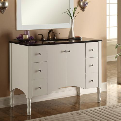 Infurniture Contemporary Style 48-inch White Finish, Black Granite Top Single Sink Bathroom Vanity