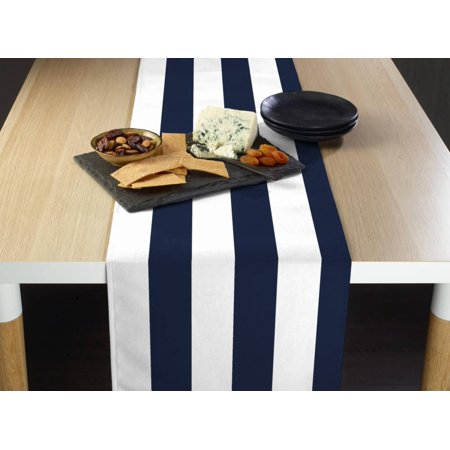 Navy & White Cabana Stripe Table Runner 14