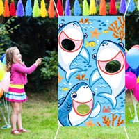 Bean Bag Toss Games with 3 Bean Bags Party Games Pack and Decoration for Baby Children Family Theme Party Favor Supplies (Blue Shark) Blue Shark