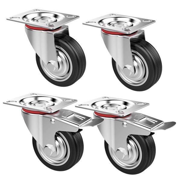 "Heavy Duty Plate Wheel Caster 3 3//8/"" Polyurethane Wheel Swivel Side Brake Base"