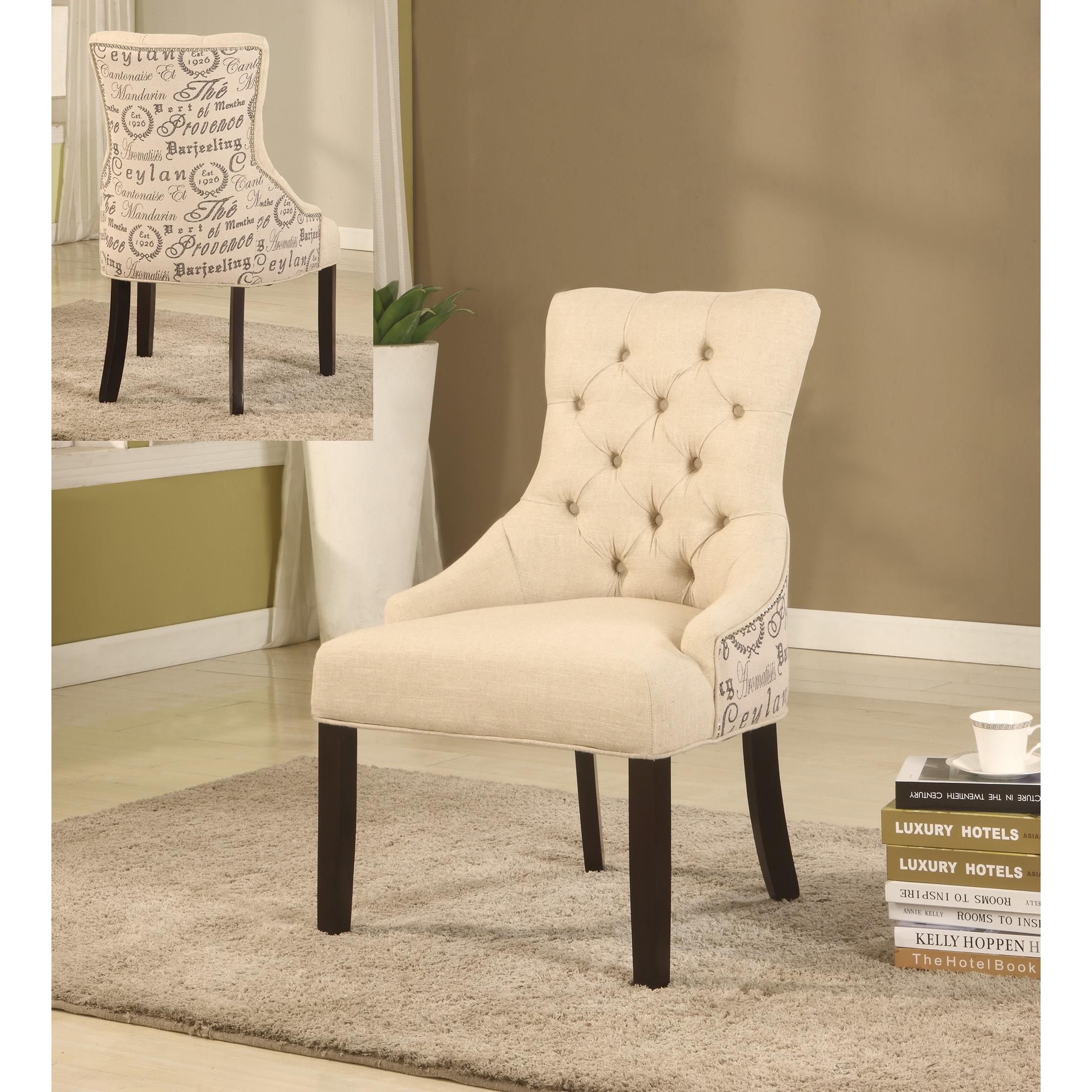 Best Master Furnitures Best Master Furniture Tufted Beige Accent Chair (Set of 2 Pcs)