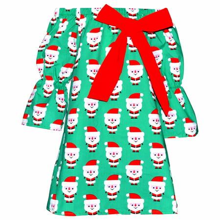 Unique Baby Girls Christmas Santa Dress with Bow (8/XXXL, Green) - Baby Santa Dress
