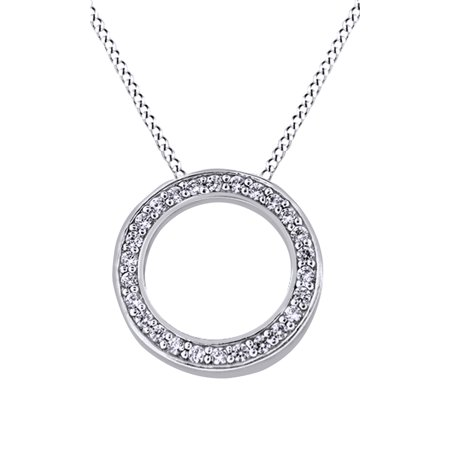 Circle Of Life Natural Diamond Pendant Necklace In 14K Solid White Gold