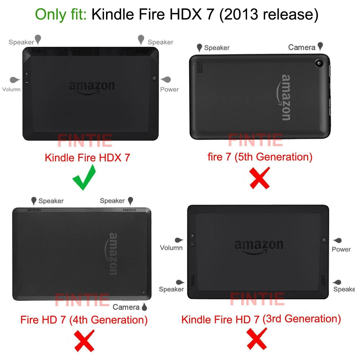 Black 4th Generation Standing Leather Case for Fire HD 7