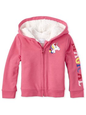 The Children's Place Baby Toddler Girl Glitter Unicorn Graphic Sherpa Hoodie