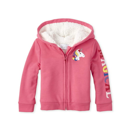 The Children's Place Baby Toddler Girl Glitter Unicorn Graphic Sherpa Hoodie Ciao Baby Hoodies