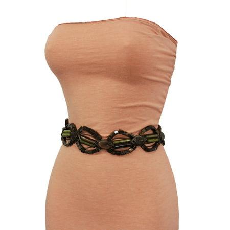 Women Hip High Waist Brown Tie Fabric Fashion Belt Beads Round Plus Size M L XL
