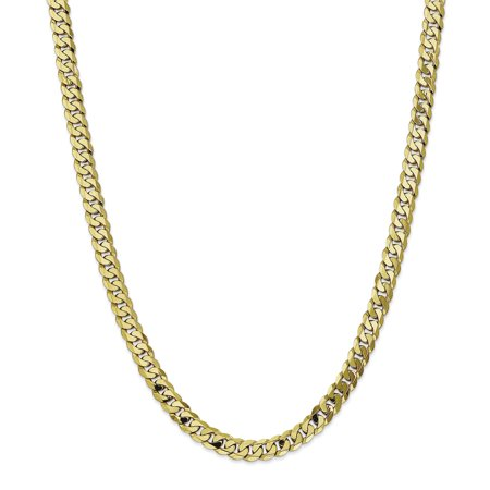 10K Yellow Gold 7 25mm Flat Beveled Curb Chain 24 Inch