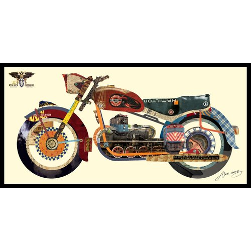 Empire Art Direct Holy Harley Motorcycle Dimensional Collage Hand Signed by Alex Zeng Framed Graphic Art