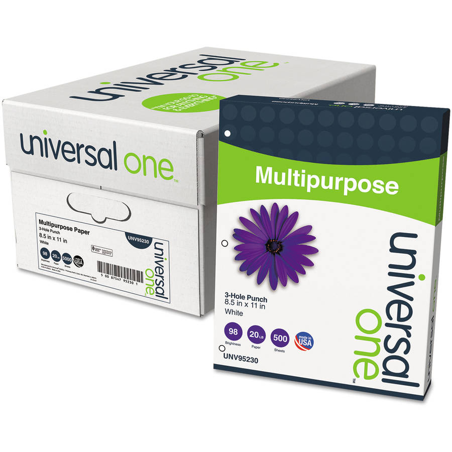 Universal One Multipurpose Paper, 98 Brightness, 20 lb, Letter, 3-Hole Punch, Bright WE, 5000 per Box