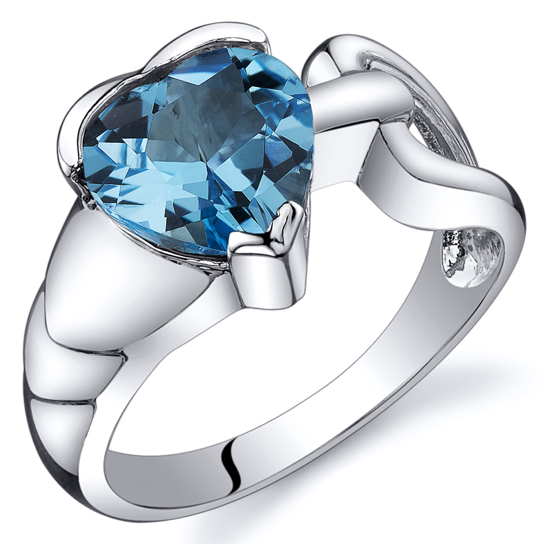 Peora 2.00 Ct Swiss Blue Topaz Engagement Ring in Rhodium-Plated Sterling Silver