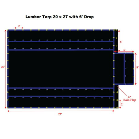 Lumber Tarp - 20' x 27' Light Weight Lumber Tarp with 6' Drop, Black Color, 15OZ Gauge, Lighter Weight for Easy Handling, Patchable and Repairable, Made by Xtarps