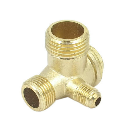 Unique Bargains Air Compressor 3 Ports Brass Male Threaded Check Valve Connector Tool