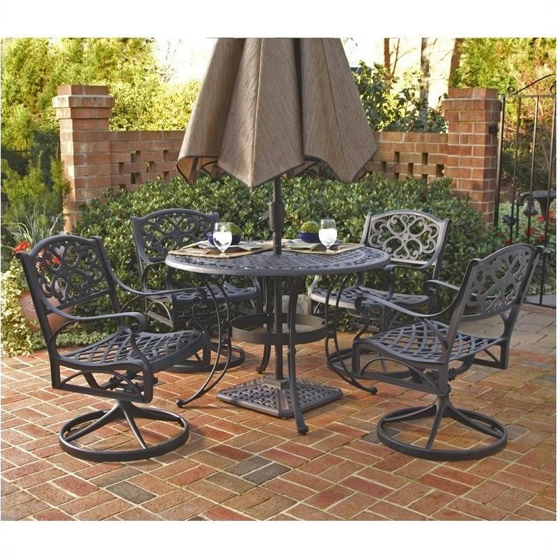 Bowery Hill 5 Piece Metal Patio Dining Room Set in Black by Bowery Hill