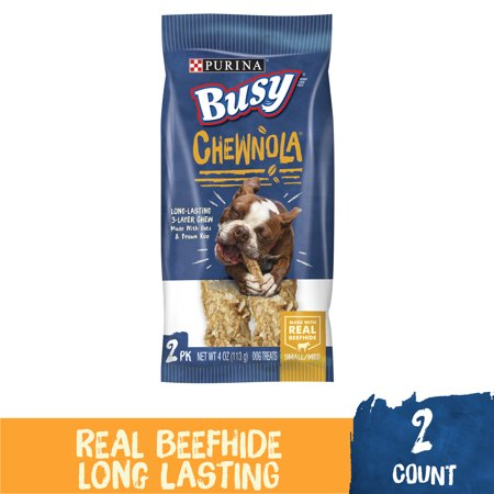 Purina Busy Rawhide Small/Medium Breed Dog Bones, Chewnola With Oats & Brown Rice - 2 ct. Pouch ()