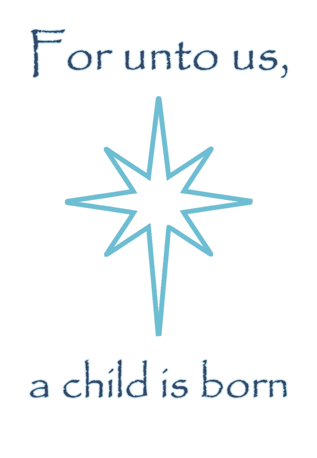 For Unto Us A Child Is Born Christmas Quote Blue Star Print Inspirational  Motivational Poster